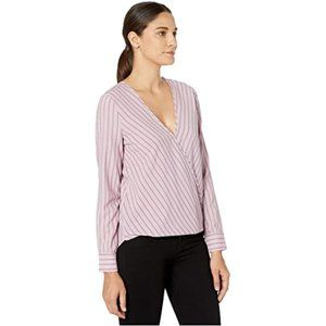 BCBG Maxazria purple Striped blouse vneck Large